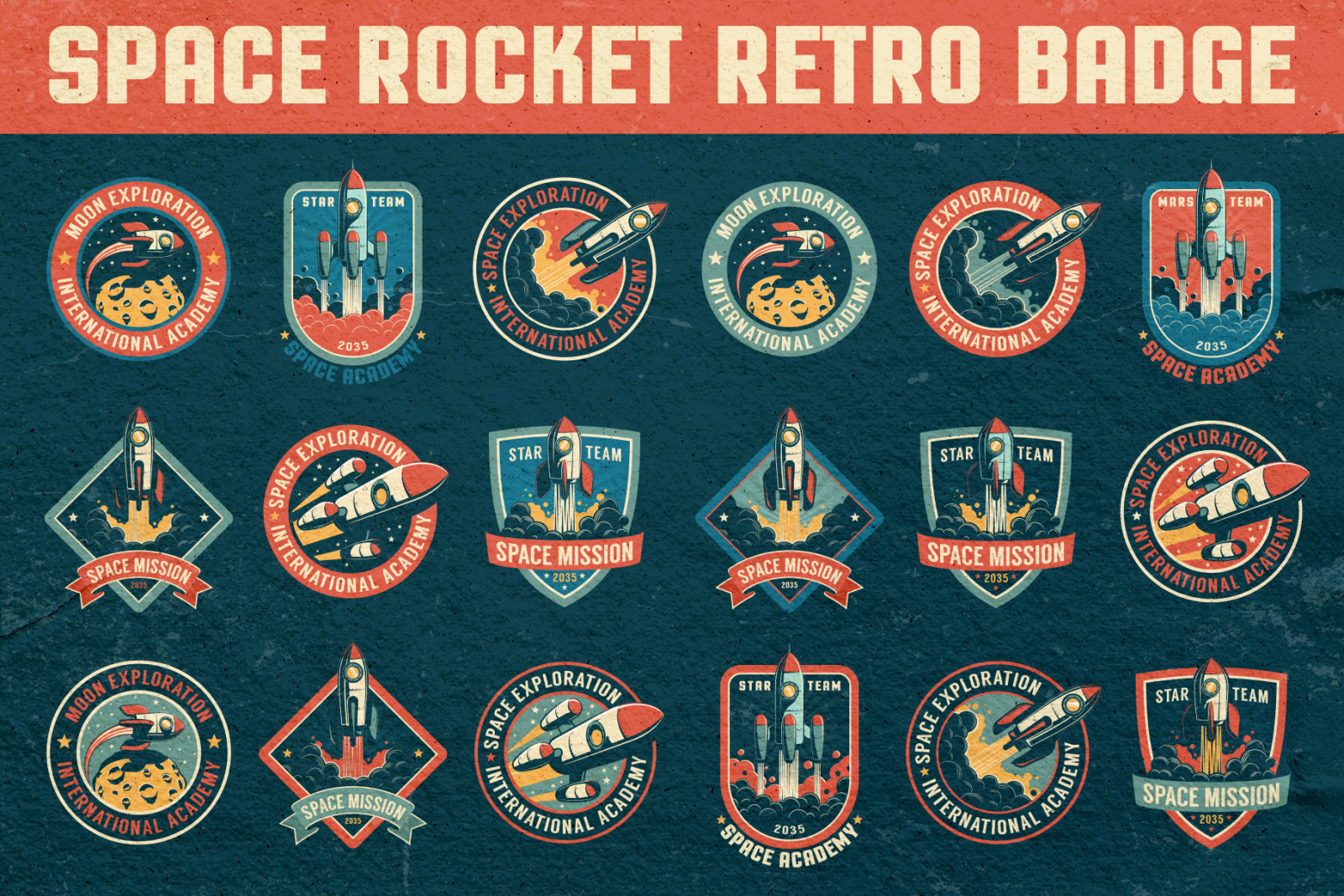 Space Rocket Retro Badge