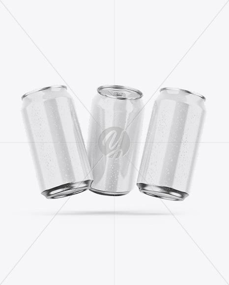 Three Metallic Cans W/ Glossy Finish Mockup