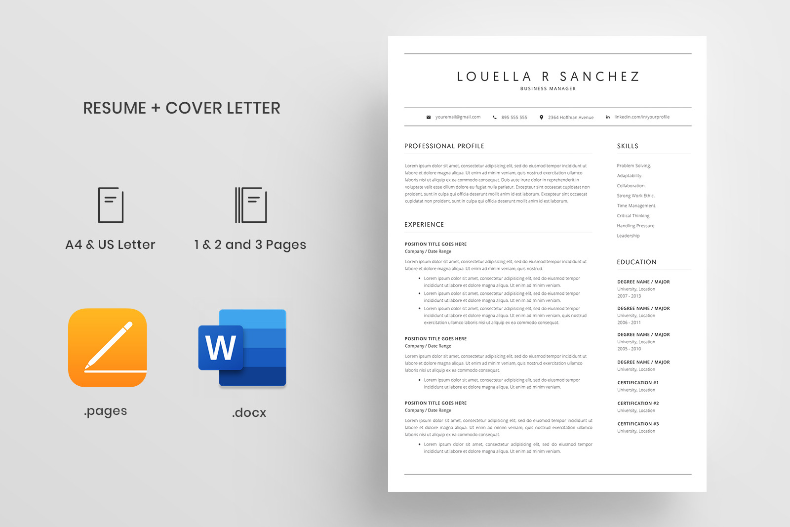 Resume Template and Cover Letter / 4 Pages / CV