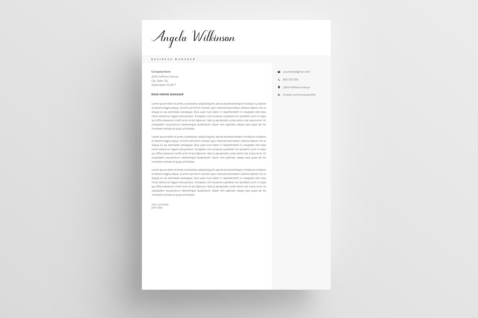 Resume Template and Cover Letter / 4 Pages / CV template