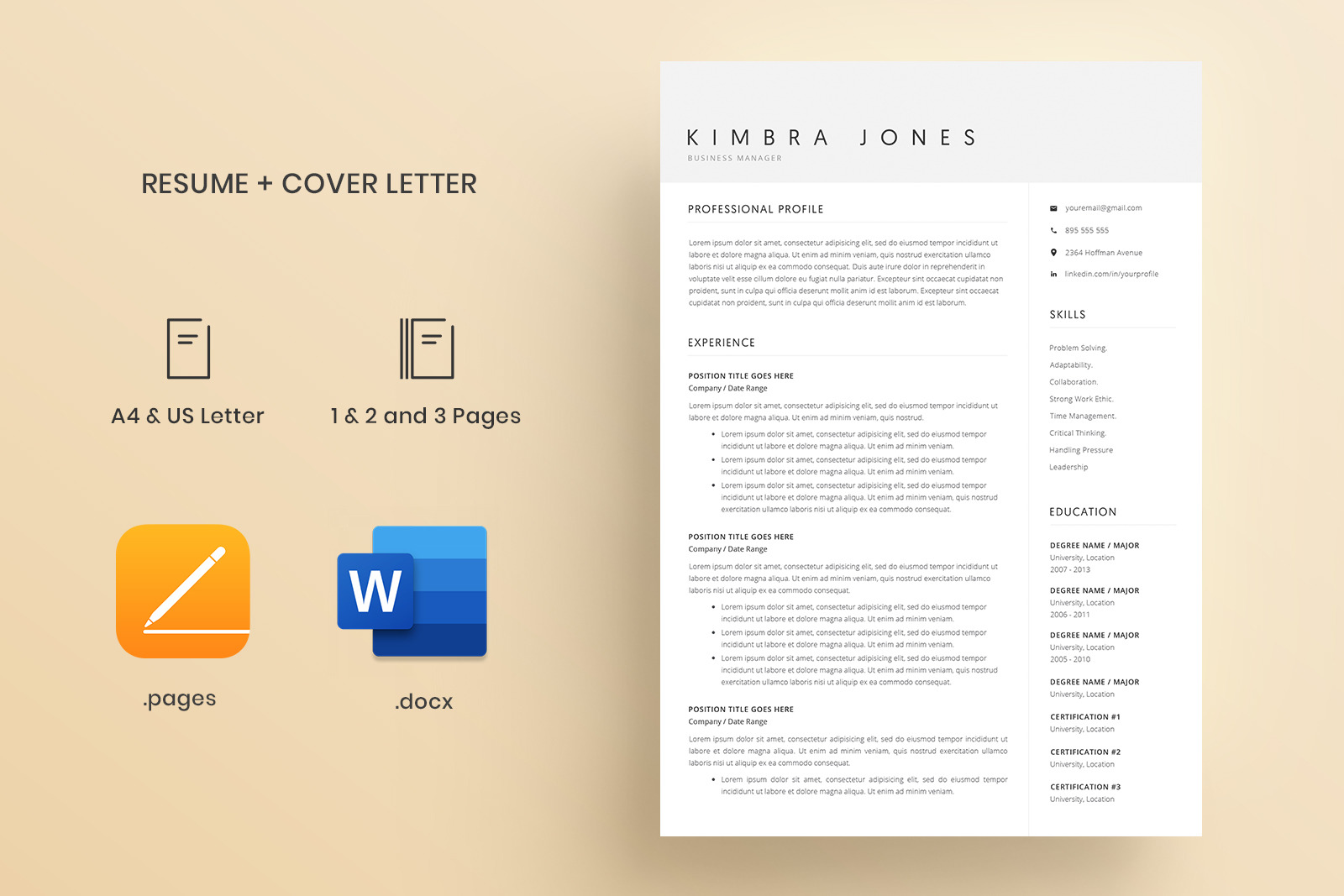 Resume Template and Cover Letter / 4 Pages Resume Template / Word Resume Template