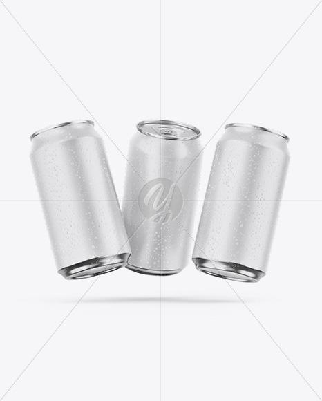 Three Metallic Cans W/ Matte Finish Mockup