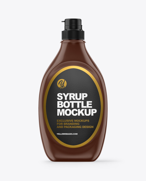 Download Glossy Plastic Syrup Bottle Mockup In Bottle Mockups On Yellow Images Object Mockups PSD Mockup Templates