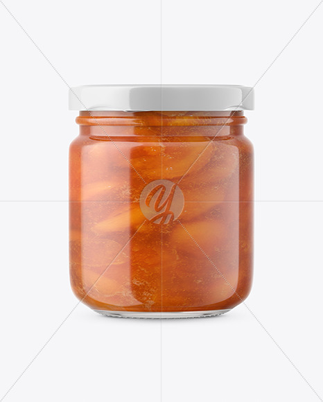 Download Apricot Jam Glass Jar Mockup Front View In Jar Mockups On Yellow Images Object Mockups PSD Mockup Templates