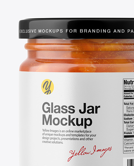 Apricot Jam Glass Jar Mockup – Front View
