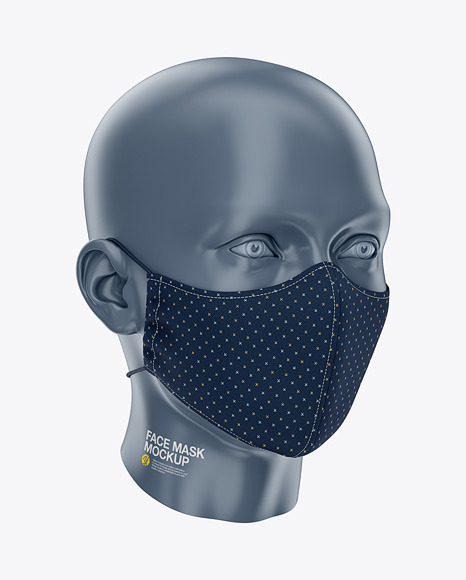 Face Mask with Elastic Cord and Stopper - Front Half-Side View