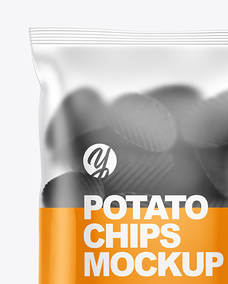 Frosted Plastic Bag With Potato Chips Mockup