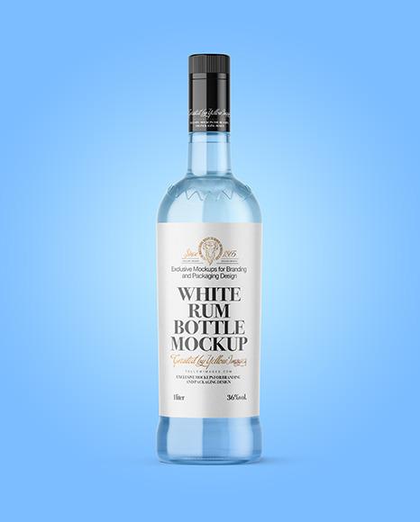 Clear Glass White Rum Bottle Mockup