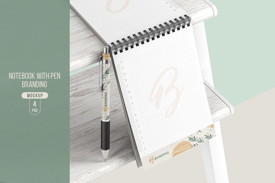 Notebook With Pen Branding Mockup