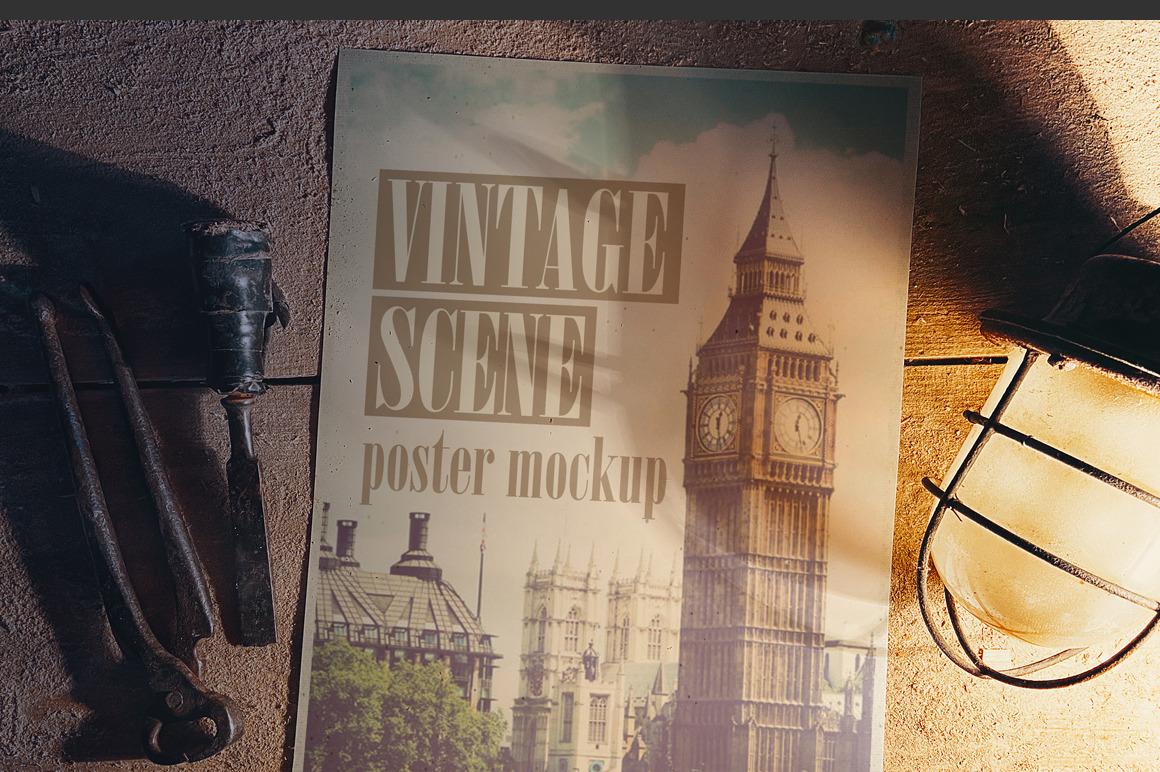 Old Poster Scene Mockup