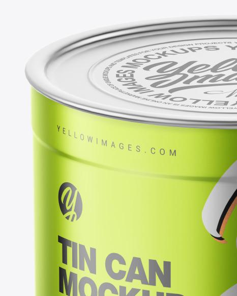 Matte Metallic Tin Can Mockup