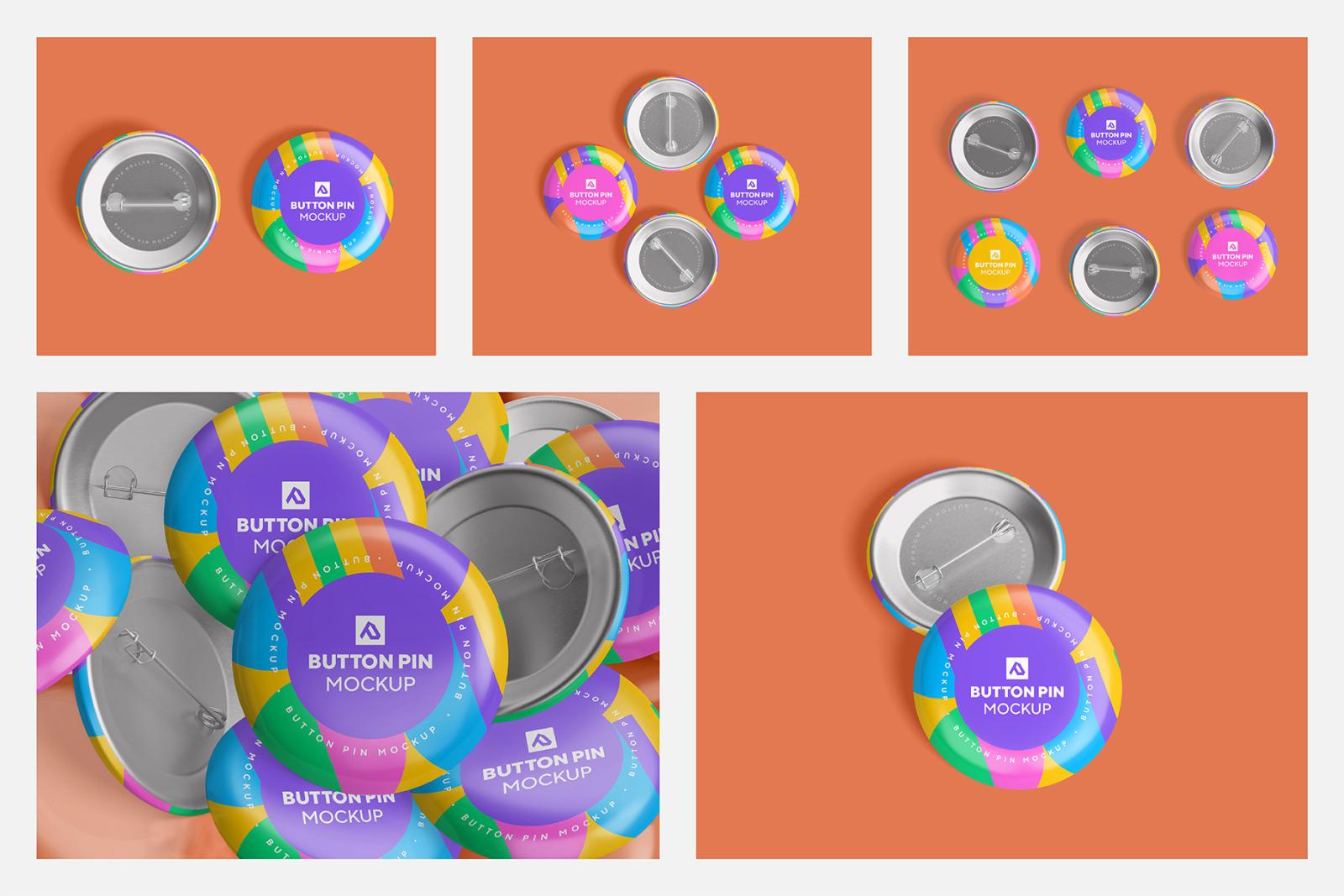 Glossy Circle Button Pin Badge Mockup Set