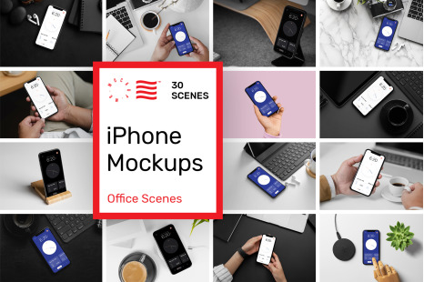 Download Phone App Mockups Set In Device Mockups On Yellow Images Creative Store PSD Mockup Templates