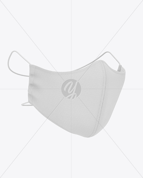 Face Mask With Elastic Cord And Stopper Front Half Side View In
