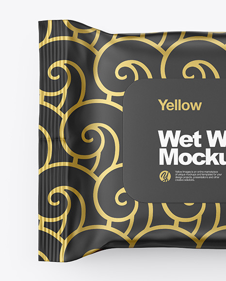 Wet Wipes Pack Mockup - Top View