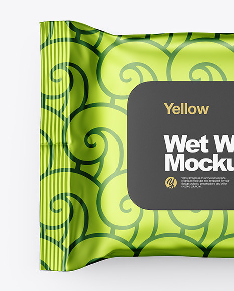 Metallic Wet Wipes Pack Mockup - Top View