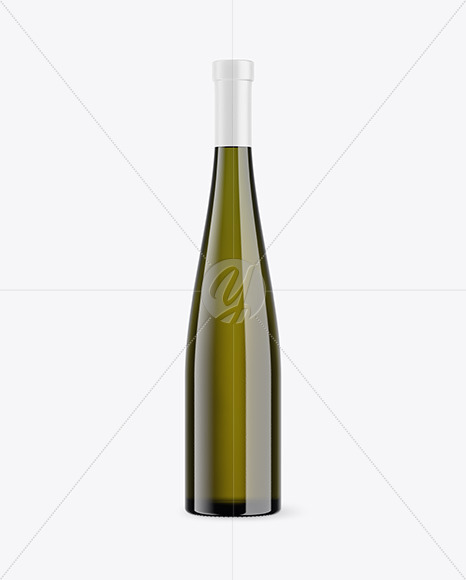 Antique Green Glass Wine Bottle Mockup