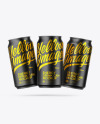 Three Matte Metallic Cans Mockup