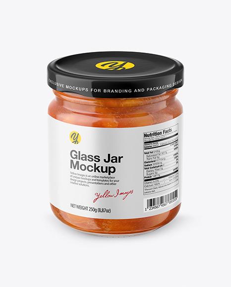 Apricot Jam Glass Jar Mockup – Front View (High Angle Shot)