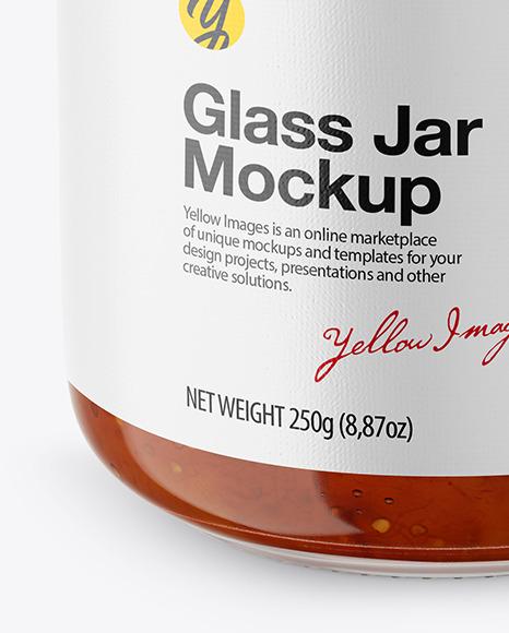 Fig Jam Glass Jar Mockup – Front View (High Angle Shot)
