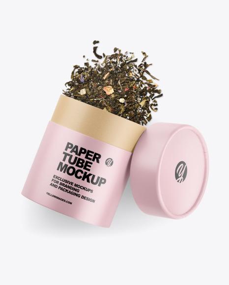 Glossy Paper Tube W/ Tea Mockup