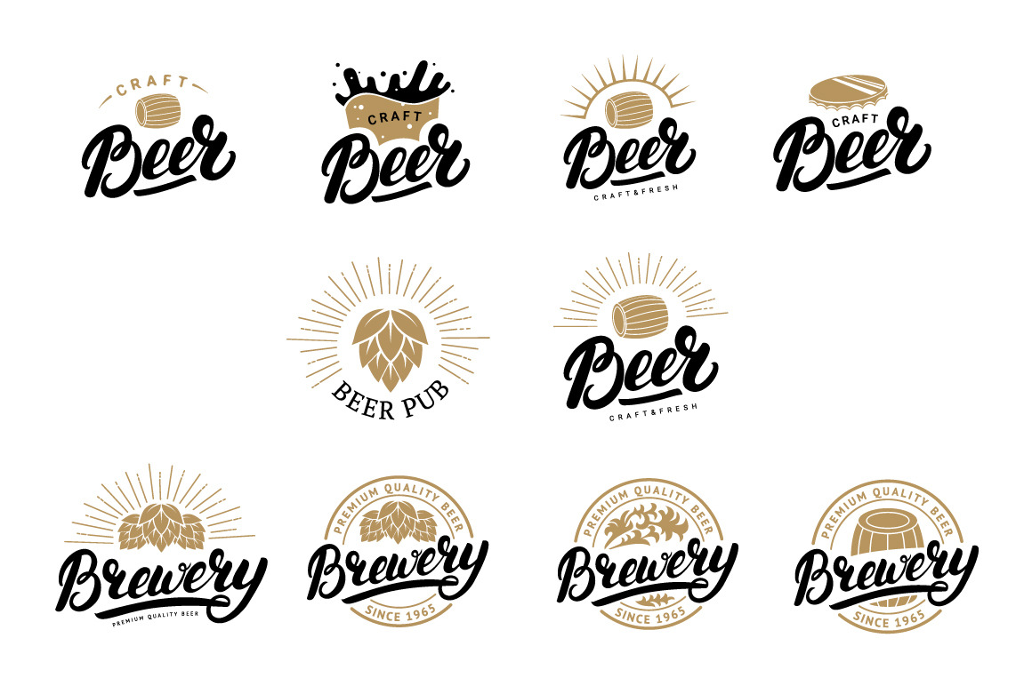 10 Beer and brewery logo set