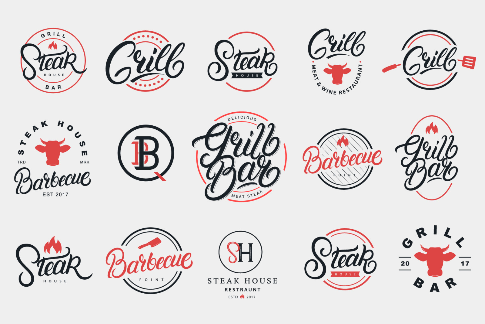 Grill & Barbecue Logo Set