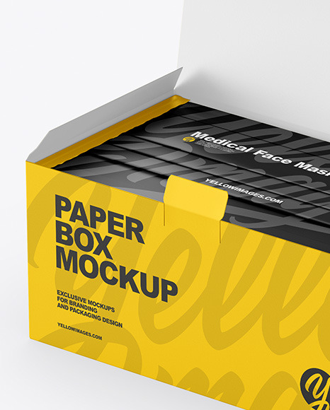 Paper Box With Medical Face Masks Mockup