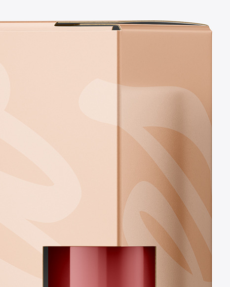 Cosmetic Packaging Box with Lipstick Mockup - Front View