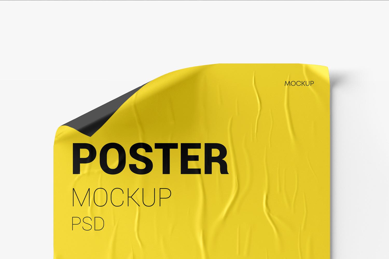Crumpled Poster Mockup Set