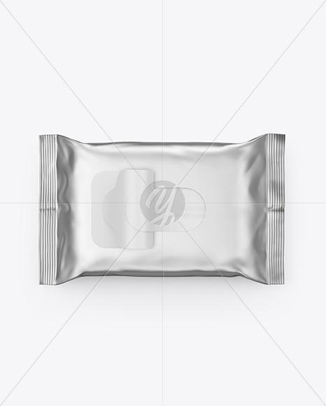 Metallic Wet Wipes Pack Mockup - Top View