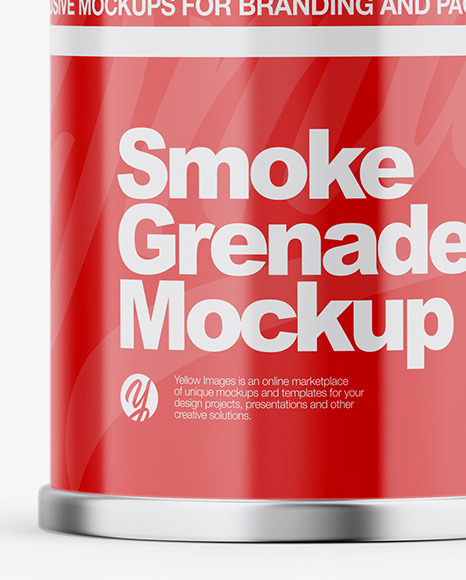 Glossy Smoke Grenade Mockup