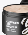 Opened Matte Plastic Cosmetic Jar Mockup - Front View (High-Angle Shot)