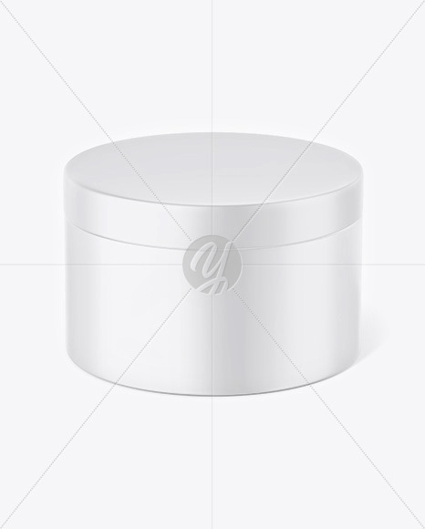 Matte Plastic Cosmetic Jar Mockup - Front View (High-Angle Shot)