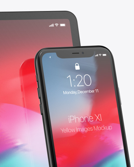 Apple iPhone 11 Pro w/ iPad Pro Mockup