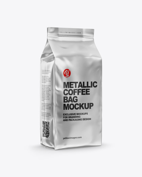 Download Metallic Coffee Bag Mockup Half Side View In Bag Sack Mockups On Yellow Images Object Mockups PSD Mockup Templates