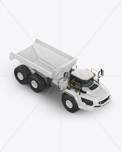 Articulated Hauler Mockup - Half Side View (high angle shot) - Yellowimages Mockups