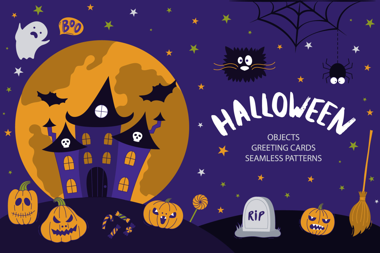 Happy Halloween In Illustrations On Yellow Images Creative Store
