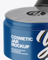 Opened Glossy Plastic Cosmetic Jar with Foil Lid Mockup - Front View (High-Angle Shot)