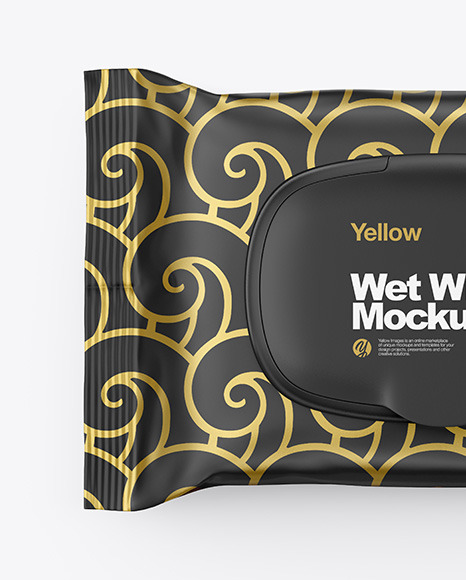 Wet Wipes Pack With Plastic Cap Mockup - Top View
