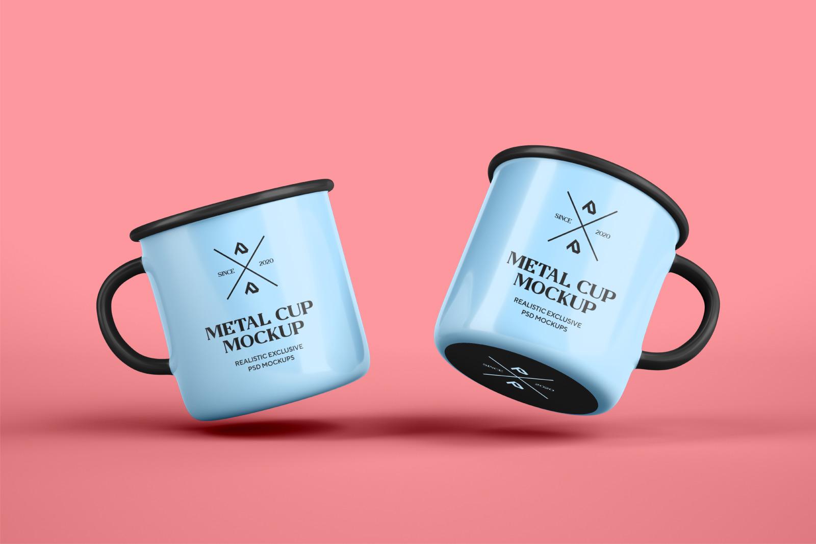 Enamel Mug and Coffee Cup Mockups Set