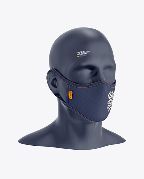 Face Mask Mockup - Half Side View