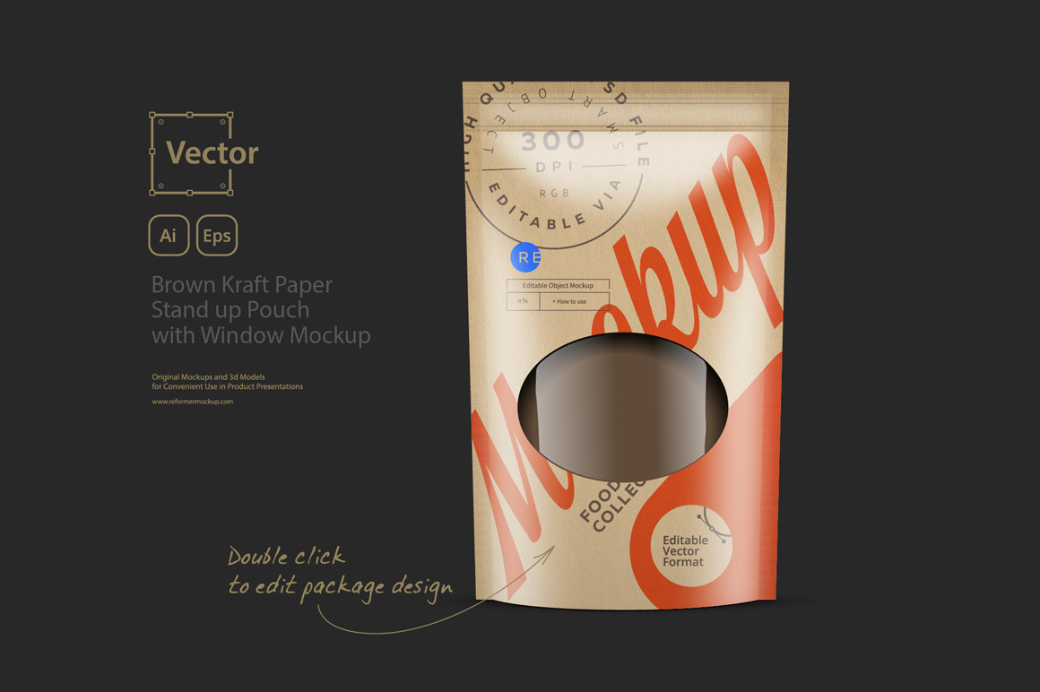 Brown Kraft Paper Stand up Pouch with Window Mockup