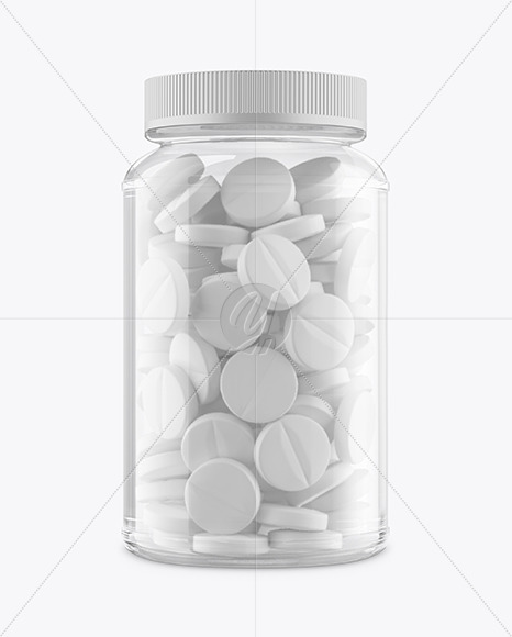 Download Clear Glass Bottle With Rounded Pills Mockup Front View In Bottle Mockups On Yellow Images Object Mockups Yellowimages Mockups