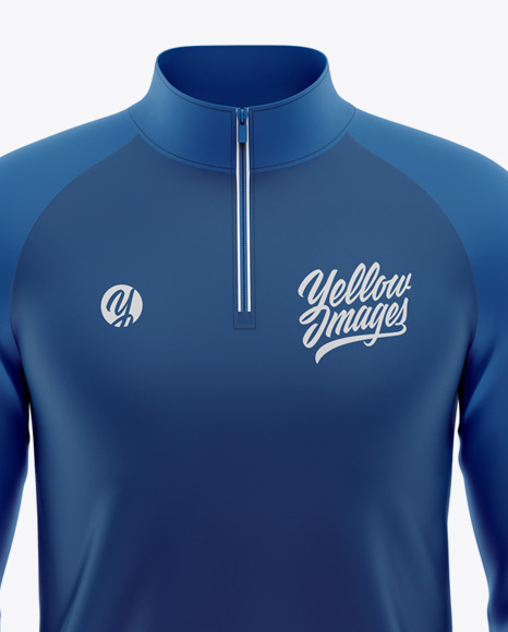 Men's  Raglan Quarter-Zip Pullover Mockup - Front View
