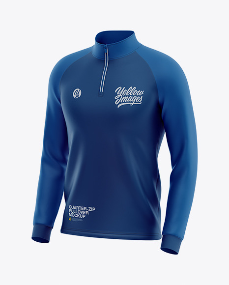 Men's  Raglan Quarter-Zip Pullover Mockup