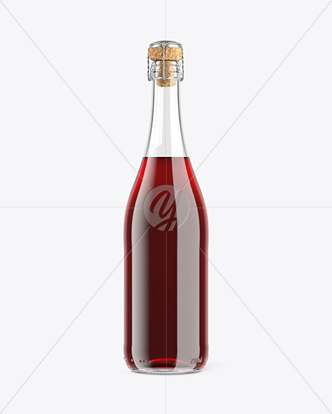 Clear Glass Lambrusco Bottle With Red Wine Mockup