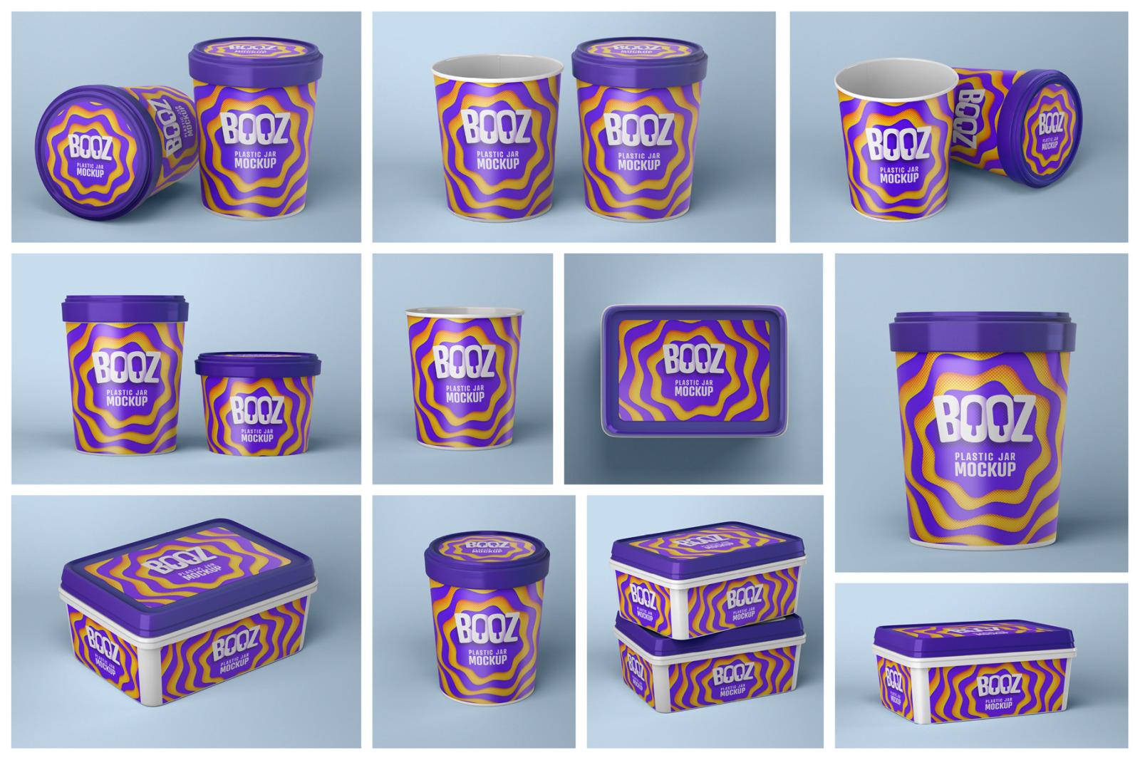 Ice Cream Cup Mockup Set   Ice Cream Box