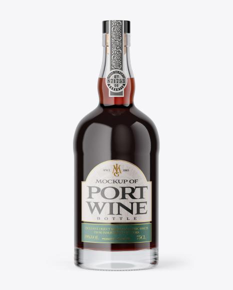 Clear Glass Port Wine Bottle Mockup