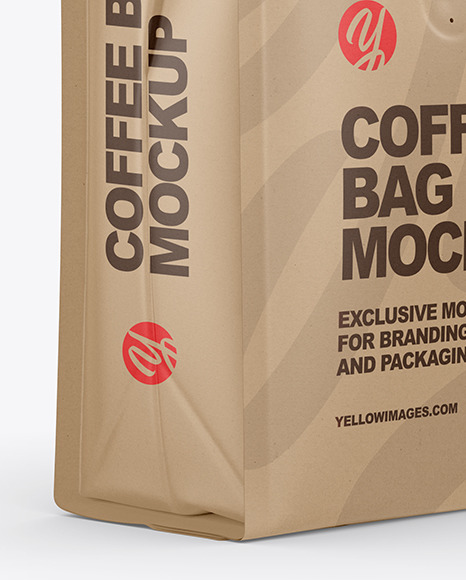 Download Kraft Coffee Bag Mockup Half Side View In Bag Sack Mockups On Yellow Images Object Mockups PSD Mockup Templates